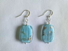 Turquoise Glass Earrings